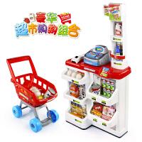 儿童超市收银台玩具购物车手推小推车男孩女孩过家家仿真收银机 超市购物组合