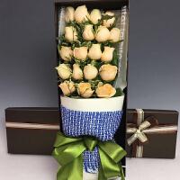 情人节鲜花速递同城北京石家庄19朵香槟玫瑰鲜花礼盒花束鲜花速递