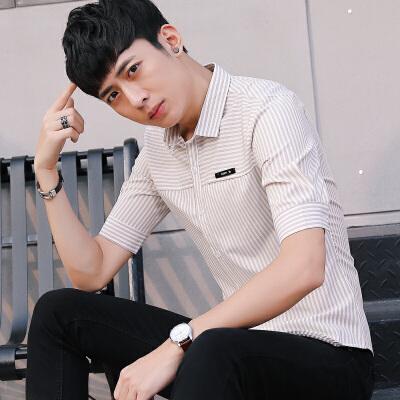 短袖衬衫男2018夏季新款韩版修身青少年休闲男装条纹印花衬衣 发货周期:一般在付款后2-90天左右发货,具体发货时间请以与客服协商的时间为准