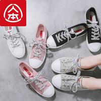 人本帆布鞋女 2018春季新款百搭小白鞋女 系带低帮白色休闲平底鞋