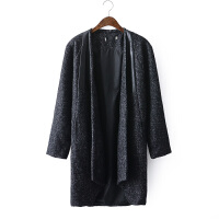 B6复古韩版羊毛呢外套女无领中长加厚粗花呢子大衣宽松风衣外套