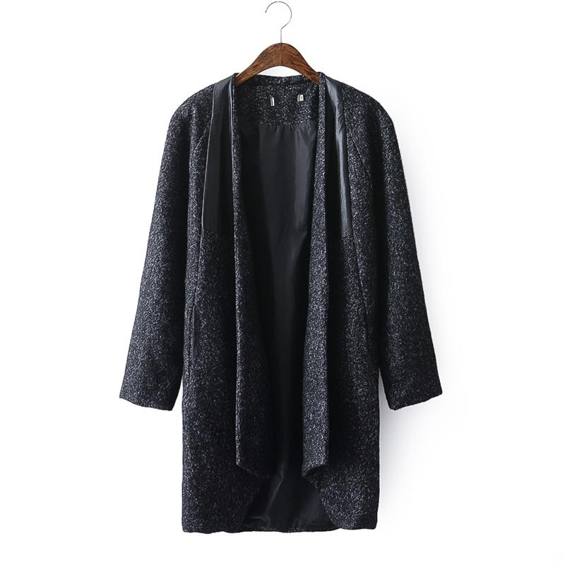 B6复古韩版羊毛呢外套女无领中长加厚粗花呢子大衣宽松风衣外套 发货周期:一般在付款后2-90天左右发货,具体发货时间请以与客服协商的时间为准