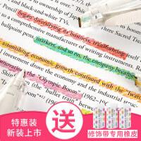 日本PLUS普乐士荧光修饰带特惠套装可爱手账装饰花边带水彩荧光蜡笔修正带