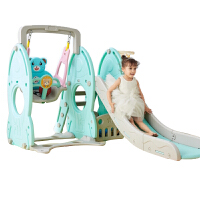 儿童室内滑梯家用多功能滑滑梯宝宝组合滑梯秋千塑料玩具加厚 绿色火箭四合一(塑料横梁)