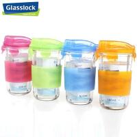 三光云彩Glasslock韩国进口钢化玻璃耐热水杯500ML加防烫硅胶摇摇杯茶杯玻璃茶杯RC105C