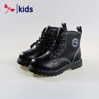 红蜻蜓童鞋男童小中童高帮真皮皮鞋冬季棉鞋