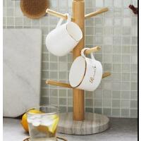 厨房收纳架创意杯架咖啡杯茶杯马克杯实木挂架大理石收纳