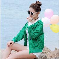 夏季防晒衣女短款学生韩版百搭棒球服长袖防紫外线沙滩防�鸱�薄外套