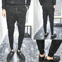 新品18春秋男士韩版修身印花哈伦小脚裤子潮流青年小伙休闲长裤子