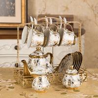 14件欧式茶具陶瓷咖啡具骨瓷咖啡杯套装英式整套家用下午花茶杯具 16件金花咖啡套具【普包】 默认送垫子 14件