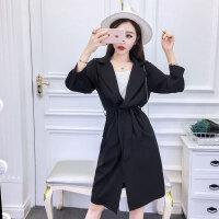 韩版长款外套潮 夏季新品港味时尚显瘦防晒衫开衫女空调衫送腰带