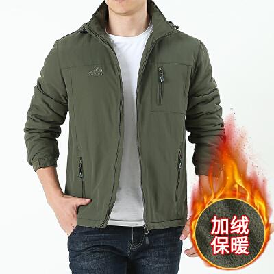 男士加摇粒绒加厚大码棉衣外套青中年秋冬季保暖棉袄子大码外套