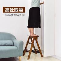 实木梯凳家用梯子家用折叠凳子厨房高板凳登高三步小梯子折叠梯凳