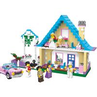 启蒙 拼插积木 城市系列冰淇淋车婚房小颗粒拼装积木儿童模型 女孩玩具