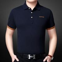 纯棉短袖t恤 男夏季中年男装丝光棉翻领爸爸装冰丝polo衫