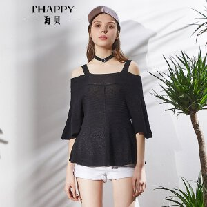 海贝2018春装新款女 黑色一字领吊带七分袖荷叶边针织衫套头衫