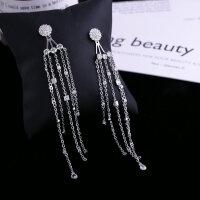 欧美时尚明星同款耳环锆石水滴两用长款流苏银针耳坠晚宴礼服配饰 银色 一对