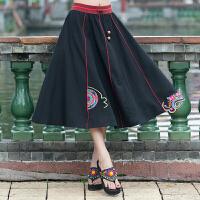 中国风女装夏季民族风原创设计棉麻刺绣花女装半身裙长裙女