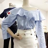 春装201新款韩国纯色显瘦青春减龄单排扣简约露肩衬衫X