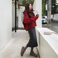 慈姑大码女装2018秋冬新款连衣裙微胖mm洋气套装显瘦胖妹妹藏肉两件套 上衣+裙子