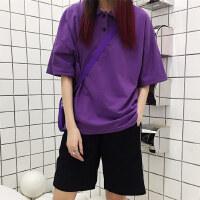 INS studios. 韩国INS同款紫色Polo衫纯色圆环短袖T恤 18ss男女款