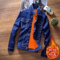 秋冬季加绒加厚牛仔外套男士大码韩版潮流修身帅气新款夹克上衣服