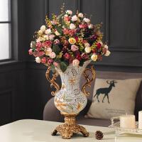 欧式奢华家居装饰陶瓷工艺品摆件客厅书房树脂双耳大花瓶花插花器 树脂X款+8束花 【雕刻刻花款】