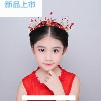 女童皇冠花环表演发饰公主发箍红色小女孩发饰礼服配饰