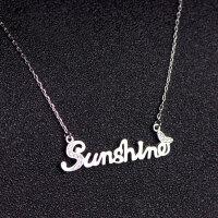 925银银阳光英文字母sunshine项链女锁骨链18K玫瑰金彩金 银款