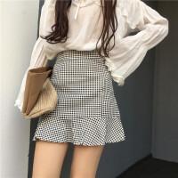 2018春季新款格子荷叶边A字短裙高腰修身显瘦包臀鱼尾半身裙学生 黑白格