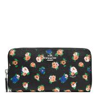 【当当自营】蔻驰(COACH)新款女士茶花玫瑰花卉涂层帆布手拿包钱包卡包  F57649