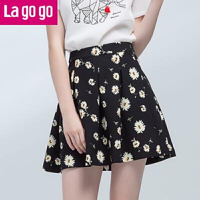 【商场同款】Lagogo/拉谷谷2017年夏季新款时尚百搭高腰印花半裙GABB103A49