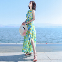 夏季新品女装系带无袖雪纺长裙连衣裙波西米亚海边度假沙滩裙 图片色XZA565