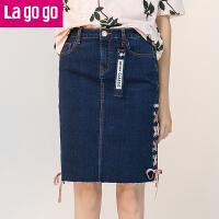 Lagogo2017年夏秋季新款高腰短裙系带裙子包臀半裙牛仔半身裙女