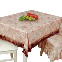 桌布布艺欧式圆形圆桌布餐桌布大圆桌桌布圆台布家用 红色 金粉佳人红方形