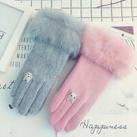 羊毛手套女士秋冬加绒加厚保暖羊绒卡通兔毛触屏韩版可爱防寒手套