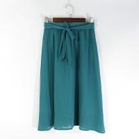 O07065日单精品女装新款松紧高腰有腰带显瘦好搭配纯色薄款半身裙