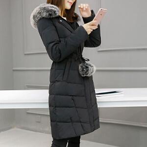 【一件三折 到手价:269.7】yaloo/雅鹿韩版时尚修身显瘦大毛领收腰保暖中长款羽绒服女