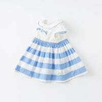 戴维贝拉女童连衣裙2021夏季新款女宝宝洋气条纹学院风纯棉公主裙