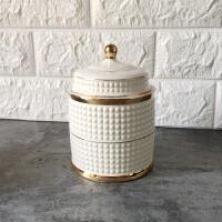 出口金色烛台收纳摆件棉签罐储物罐糖果盒收纳罐家居装饰潮品摆件