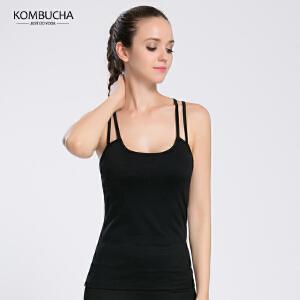 【满100减50/满200减100】Kombucha瑜伽健身背心女士速干透气交叉美背吊带式跑步健身运动背心含胸垫K0117