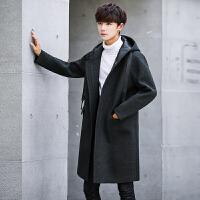 毛呢大衣男中长款青年2017冬季韩版连帽呢料宽松风衣呢子外套男潮