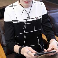 男士长袖T恤短袖潮流夏季上衣2018新款秋季衣服韩版秋衣学生卫衣 拼接多线条长袖 黑色