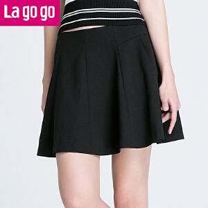 Lagogo/拉谷谷2017年夏季新款百搭拉链纯色半裙高腰口袋半身裙女