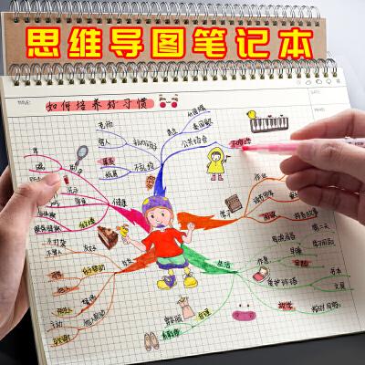 a4思维导图笔记本子专用做手绘画横式小学生用的活页夹装订空白大号四维导图纸阅读线圈网格知识框架作业练习