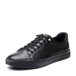 BASTO/百思图2018春季专柜同款黑色牛皮系带平跟男休闲鞋BQN05AM8