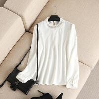大码女装春装新款精致韩版领部钉钻泡泡袖上衣胖mm长袖衬衫女