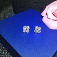 S925纯银满钻锆石防过敏耳钉简约大气精致女士耳饰品 满钻四叶草耳钉