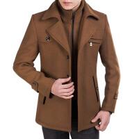 秋装2017羊毛呢子大衣男中长款中青年加棉加厚外套 M 170