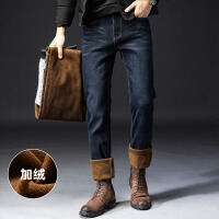 Lee Cooper秋冬新款直筒长裤保暖显瘦弹力裤子牛仔裤男